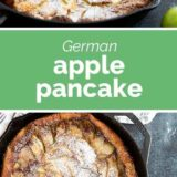 German Apple Pancake with text in the center