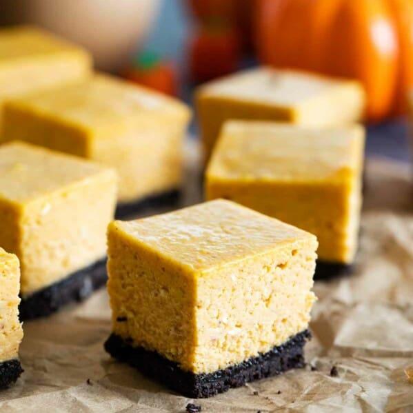 sliced pumpkin cheesecake bars