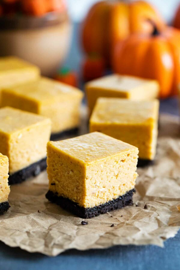 sliced pumpkin cheesecake bars