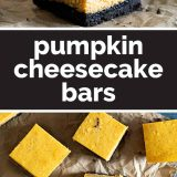 pumpkin cheesecake bars with text in the center