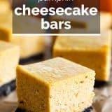 pumpkin cheesecake bar with text overlay