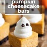 Halloween pumpkin cheesecake bar with text overlay