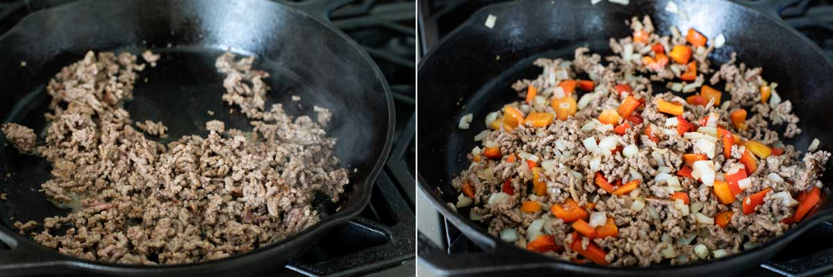 browning ground beef onions and bell pepper