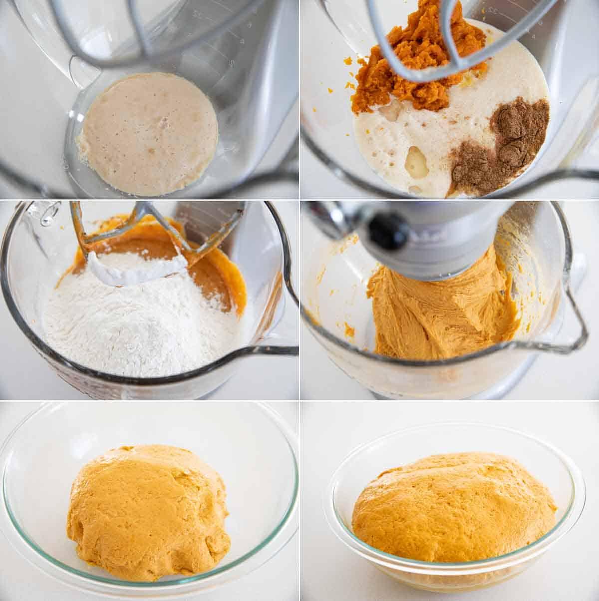 making the dough for pumpkin cinnamon rolls