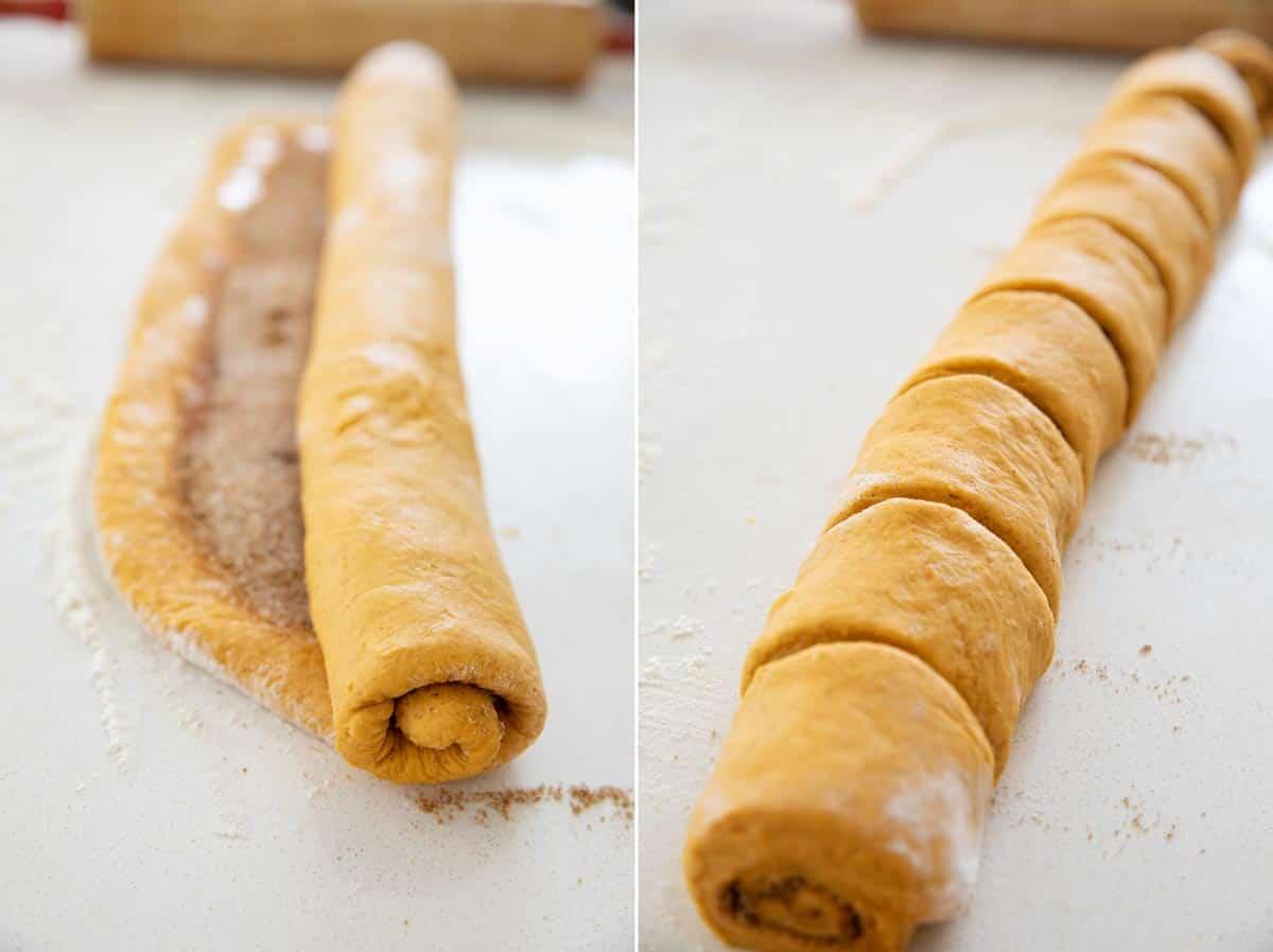 rolling and cutting pumpkin cinnamon rolls
