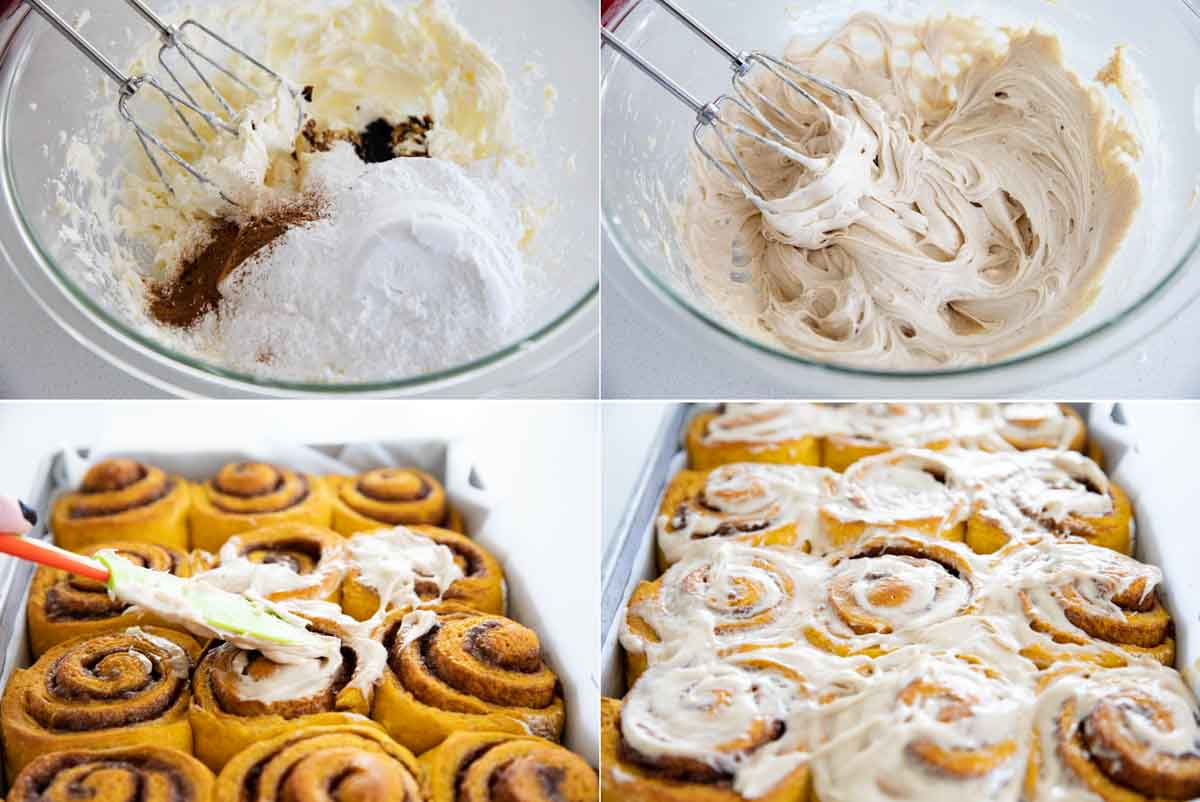 steps to make maple cinnamon cream cheese frosting
