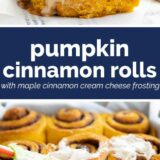 Pumpkin Cinnamon Rolls with text in the center