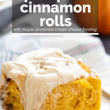 Pumpkin Cinnamon Rolls with text overlay