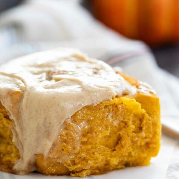 close up of Pumpkin Cinnamon Roll