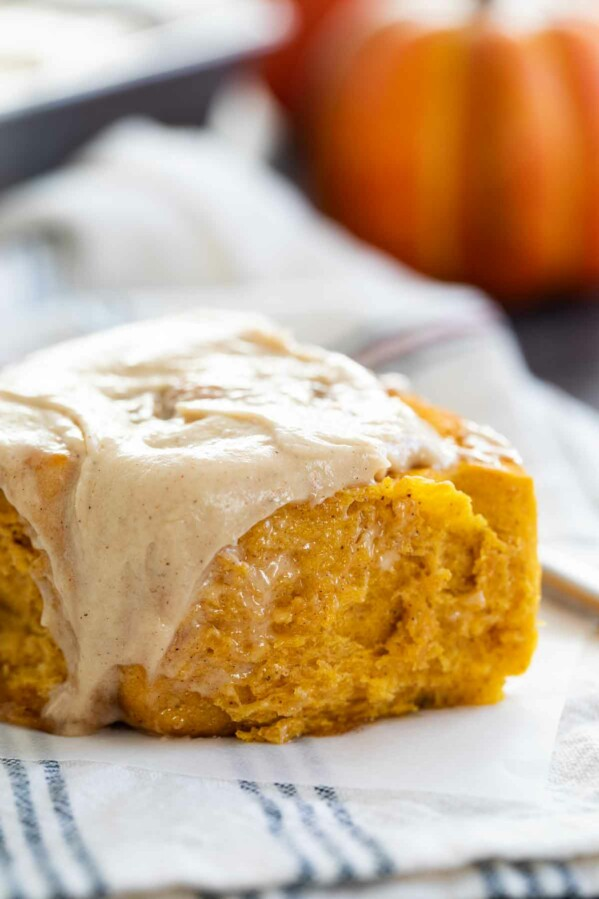 close up of Pumpkin Cinnamon Roll