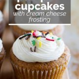 Pumpkin Cupcakes with Cream Cheese Frosting with text overlay