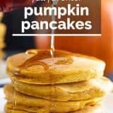 Pumpkin Pancakes with text overlay