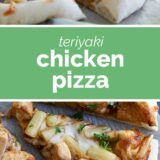 Teriyaki Chicken Pizza with text in the center