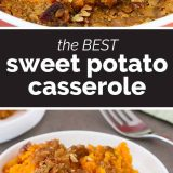 sweet potato casserole with brown sugar topping with text in the center