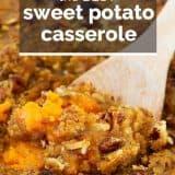 sweet potato casserole with text overlay