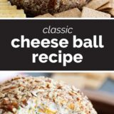 cheese ball recipe with text in the center