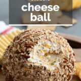 cheese ball recipe with text overlay