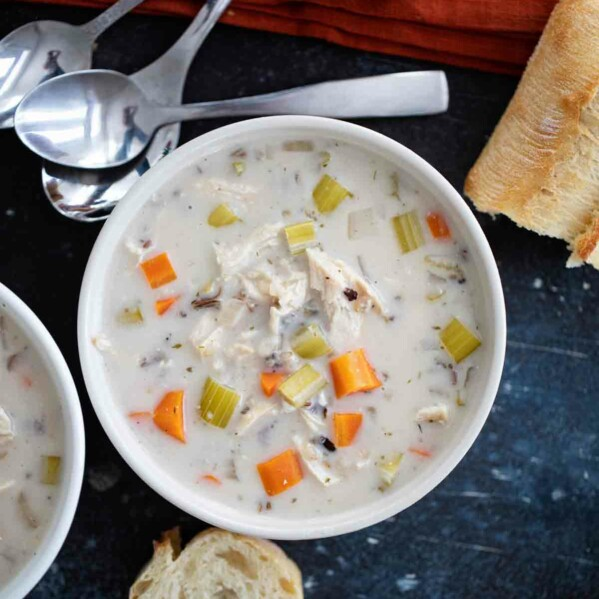 overhead view of Chicken Wild Rice Soup
