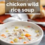 bowl of Chicken Wild Rice Soup with text overlay