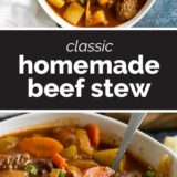 Homemade Beef Stew with text in the center