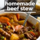 Classic Homemade Beef Stew with Text Overlay