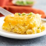 serving of corn casserole on a plate