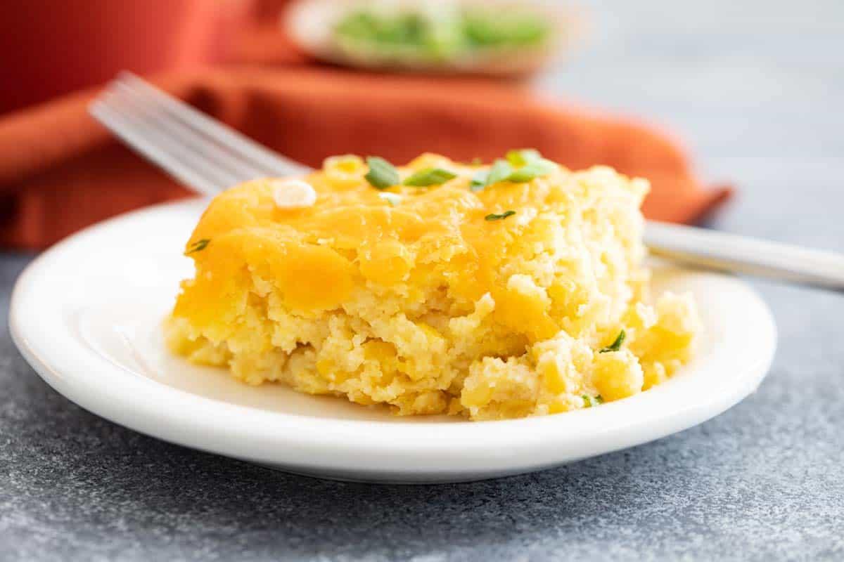 serving of corn casserole on a plate