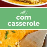 corn casserole with text in the center