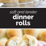 Dinner Roll Recipe with text in the center