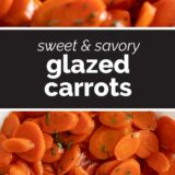 glazed carrots with text in the center