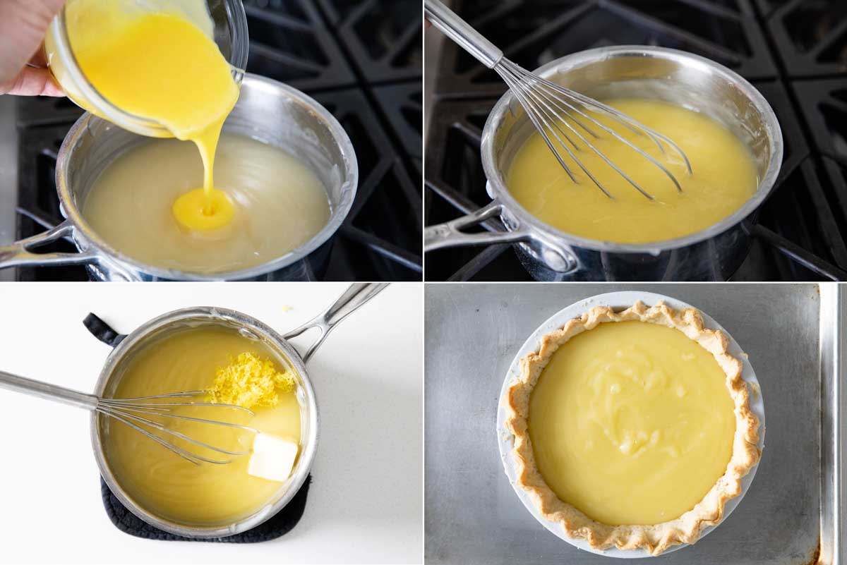 making lemon meringue pie filling