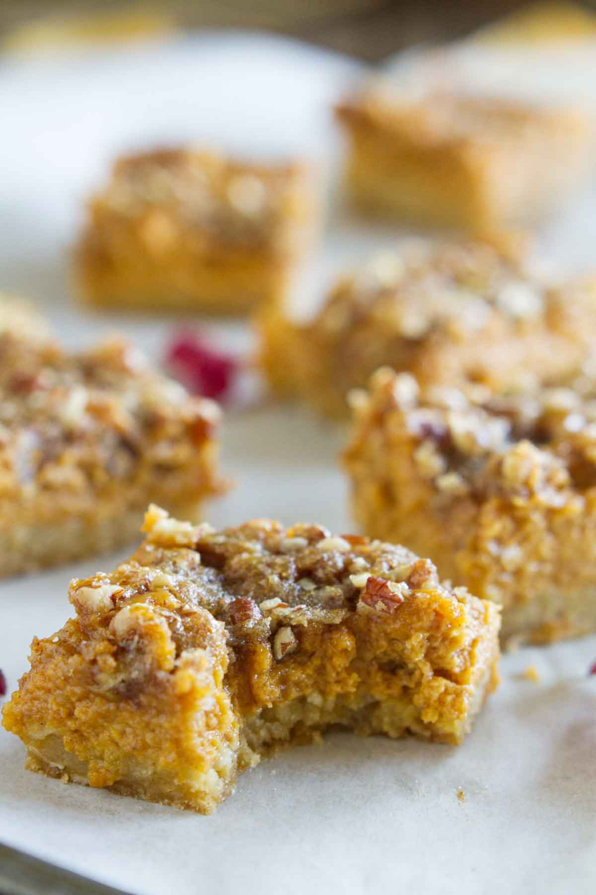pumpkin pie bar with bite take from it