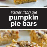 pumpkin pie bars with text in the center