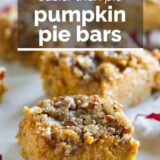 pumpkin pie bars with text overlay