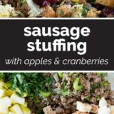 Sausage Stuffing with text in the center