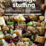 Sausage Stuffing with Apples and Cranberries with text overlay