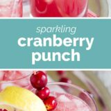 sparkling cranberry punch with text in the middle