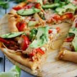 slice of Turkey Fajita Pizza on a pizza peel