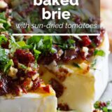Baked Brie with Sun-Dried Tomatoes with text overlay