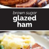 brown sugar glazed ham with text in the center