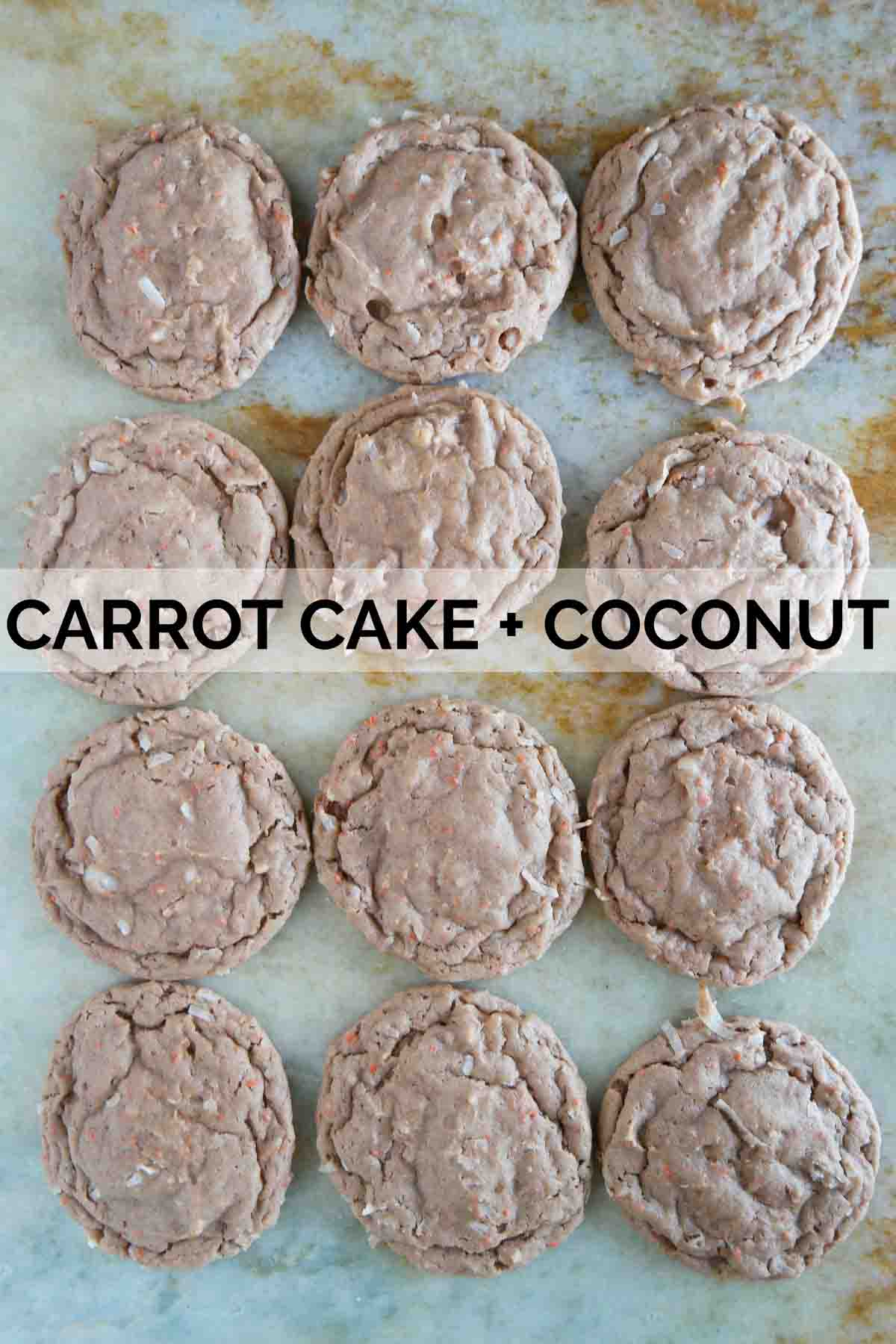 Cake mix cookies made from carrot cake and coconut