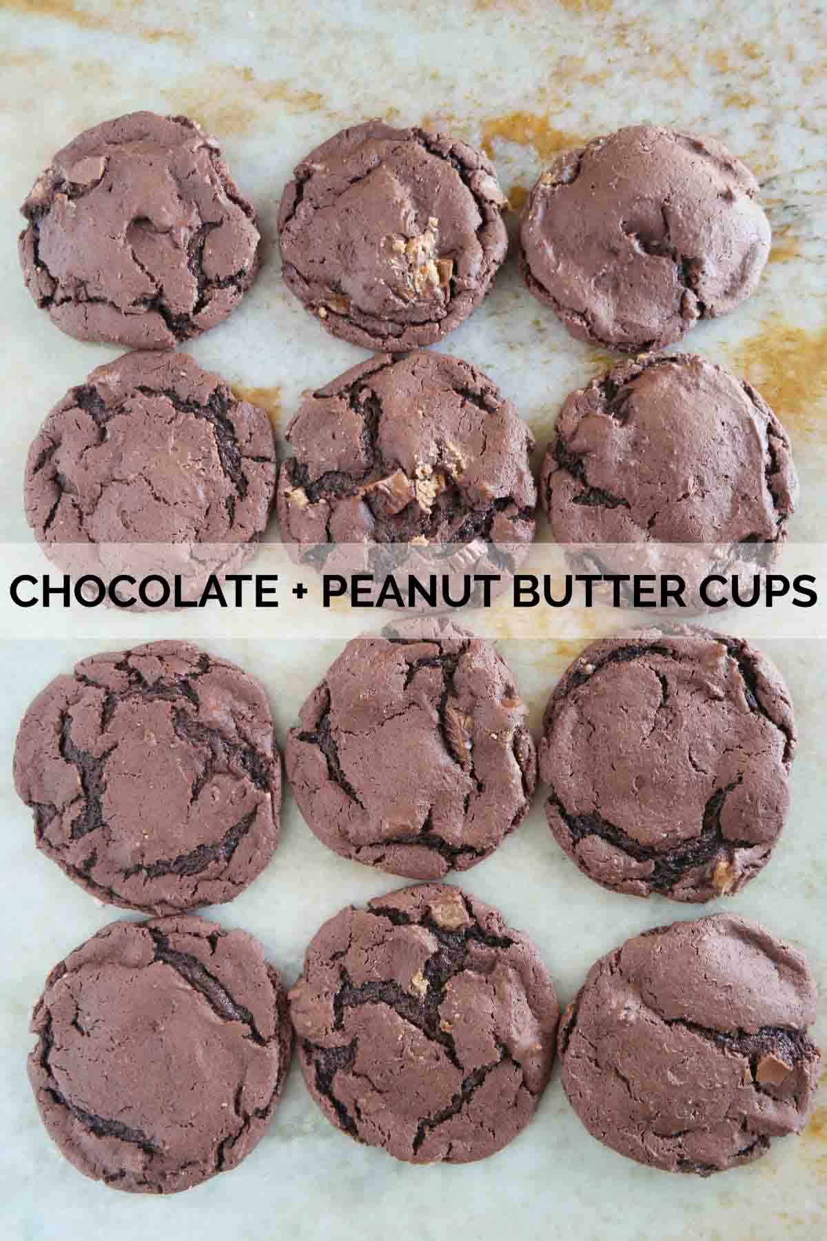 Cake mix cookies made from chocolate cake mix and peanut butter cups