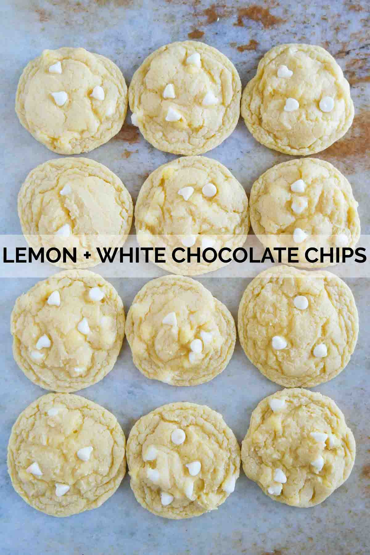 Cake mix cookies made from lemon cake mix and white chocolate chips