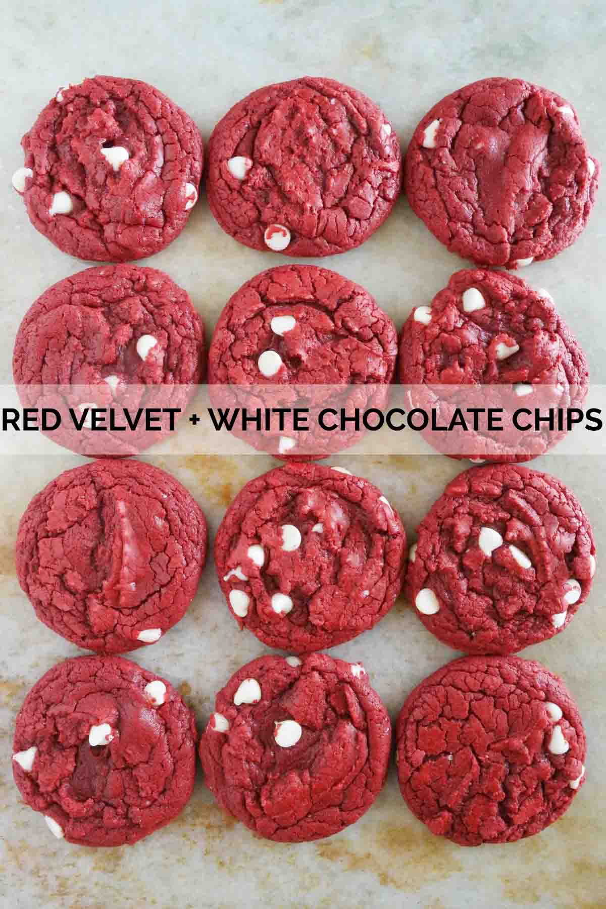 Cake mix cookies made from red velvet cake mix and white chocolate chips