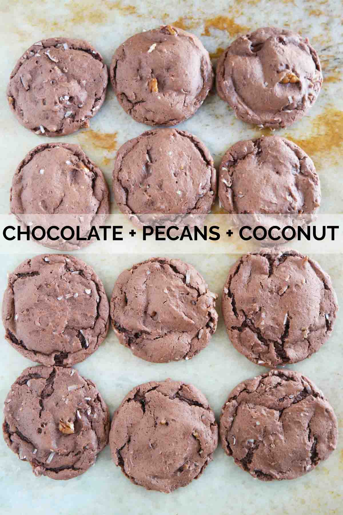 Cake mix cookies made from chocolate cake mix and pecans and coconut