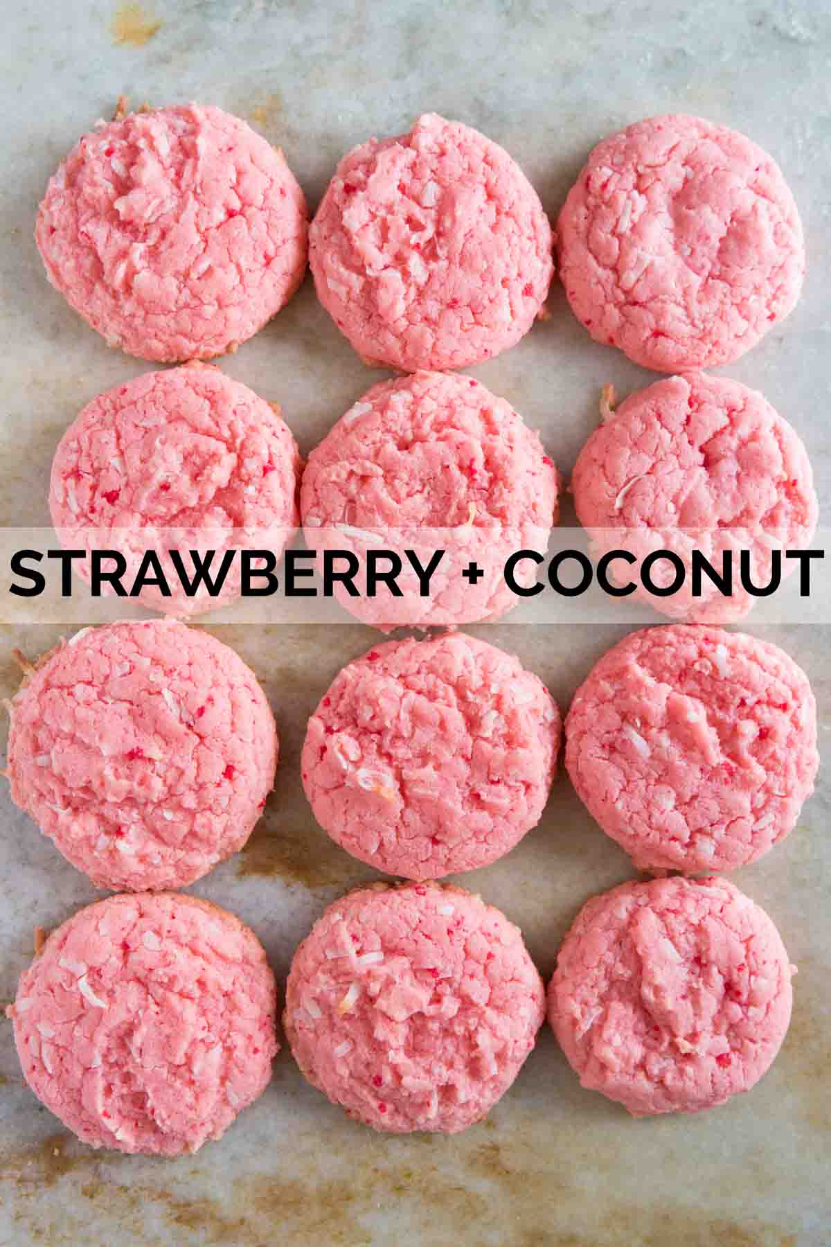 Cake mix cookies made from strawberry cake mix and coconut