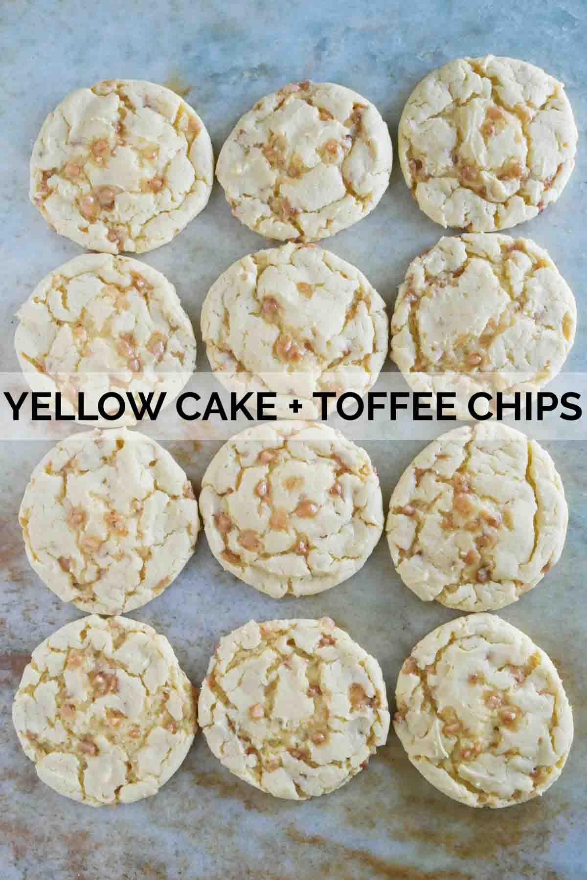 Cake mix cookies made from yellow cake mix and toffee chips