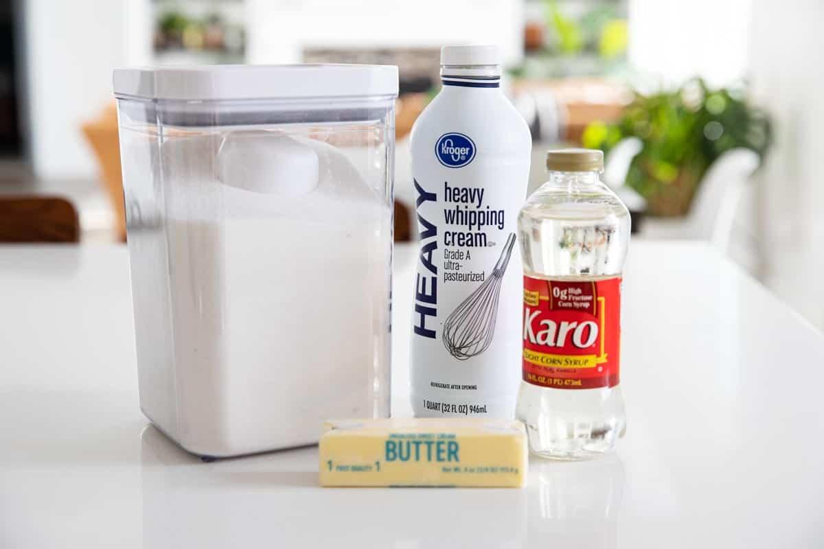 ingredients to make homemade caramel candy