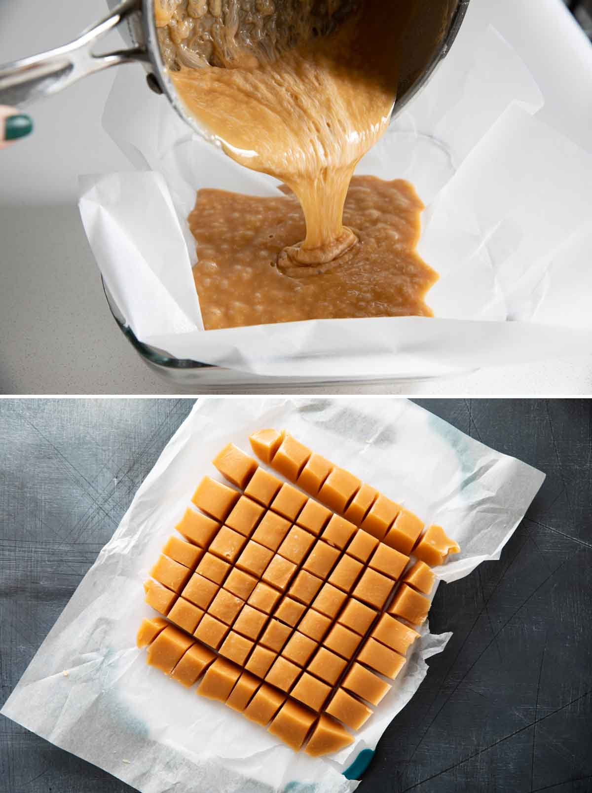 pouring hot caramel into a pan and cutting the caramels