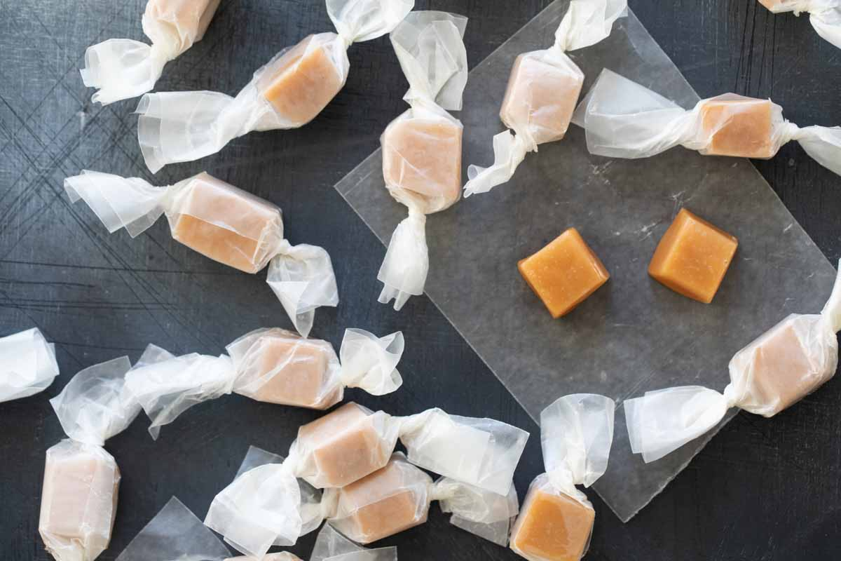caramel candies wrapped in waxed paper